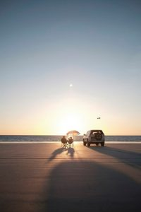 Sunset on the beach Australia Red Dirt 4WD Rentals